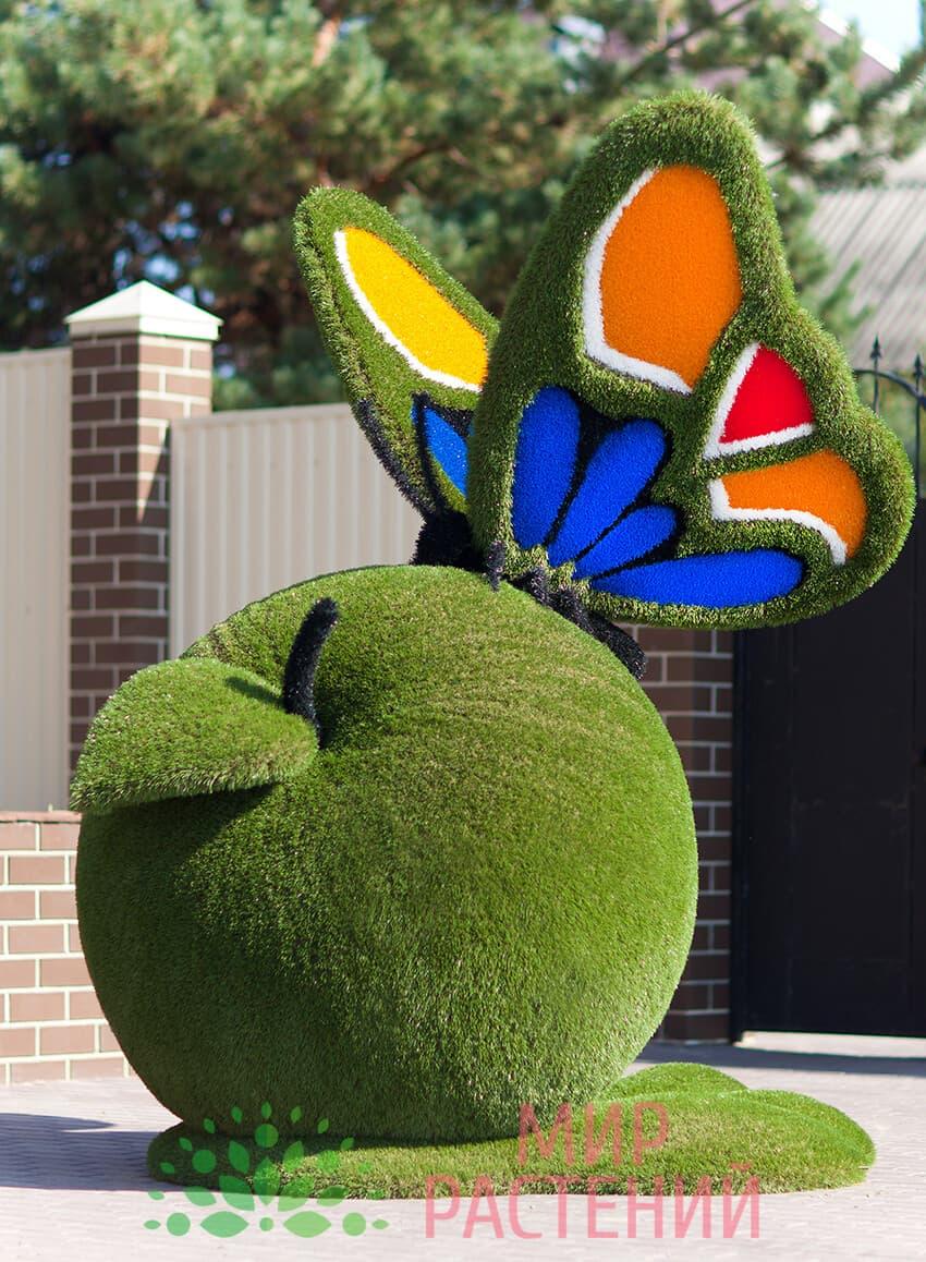 Топиарная фигура Бабочка на яблоке (оранжевая с синим)